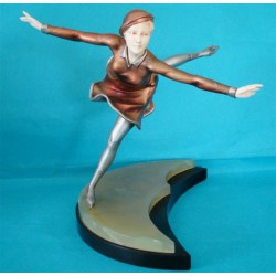 Ferdinand Preiss Female Skater Bronze and Ivory Figure. Signed to base - F Preiss. (c.1925)