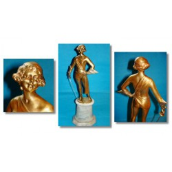 Bruno Zach Figure of a Scantily Clad Female Fencer Gilt bronze. Signed to base (c.1920)