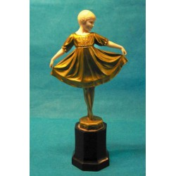 "Ferdinand Preiss Lieselotte bronze and ivory figure. Signed to base F Preiss and ""pk"" monogram (c.1925)"