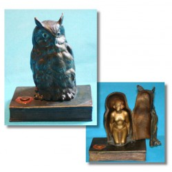 Bergman owl with Erotic gilt naked lady bronze Figure. Stamped marks. Austria (c.1920)