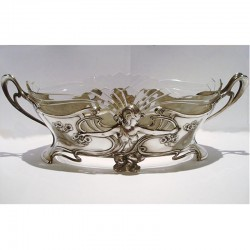 Genuine antique WMF pewter and glass flower dish. Stamped marks (c.1900)