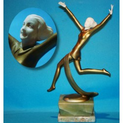 Josef Lorenzl Dancer bronze and ivory figure. Signed to bronze socle (c.1930)