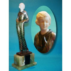 Josef Lorenzl Female in Floral Trouser Costume bronze and ivory figure. Signed to bronze base (c.1930)