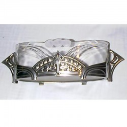 Antique WMF Pewter and Original Glass Flower Dish (c.1905)