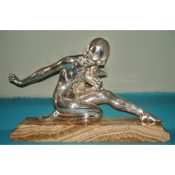 Armand Godard French Nude Figure with Dove Bronze. Signed to Marble Base (c.1925)