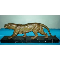 D.H. Chiparus 'Speltre Figure of a Lioness'.  Signed to base (c.1925)