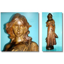 Goldsheider Terracotta Female Figure Goldscheider stamp. Signed Pecheur (c.1900)