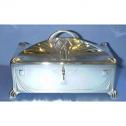 Antique WMF silver plate jewellery box with key. Stamped Marks (c.1905)