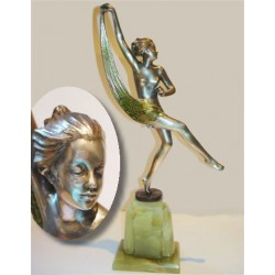 Josef Lorenzl Bronze Scarf Dancer Signed to bronze socle (c.1925)