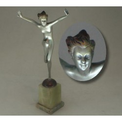 Josef Lorenzl bronze female figure. Signed to bronze socle. Circa 1925