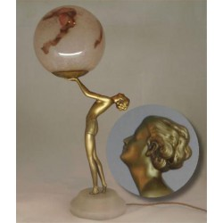 Art Deco bronzed speltre female figural lamp with original glass shade (c.1925)