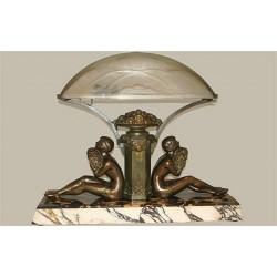 Limousin Art Deco spelter lamp with glass shade signed J Robert. French (c.1925)