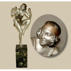 Le Faguays Scantily Clad Dancer Holding Flowers Bronze figure. Signed to base (c.1925)