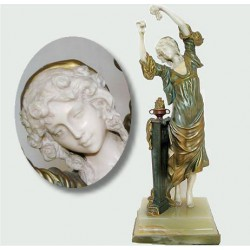 Rene Paul Marquet Dancing maiden on onyx plinth gilt bronze and ivory (c.1910)
