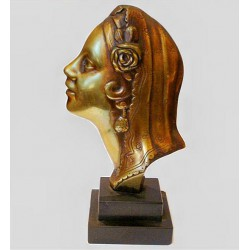 Art Deco bronze profile bust of young woman on a stepped marble base (c.1930)