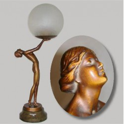 Art Deco bronzed spelter female figural lamp with glass shade (c.1925)