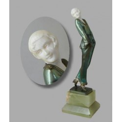 Josef Lorenzl Pyjama Girl bronze and ivory figure on green onyx base (c.1930)