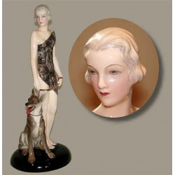 Goldscheider by Lorenzl Art Deco figure of a young woman with Alsatian (c.1935)