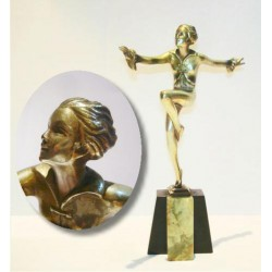 Josef Lorenzl bronze figure on onyx base. Signed to bronze plinth (c.1930)