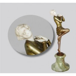 Josef Lorenzl (1892-1950) cold painted bronze and ivory figure on onyx base. Signed to bronze socle (c.1925)