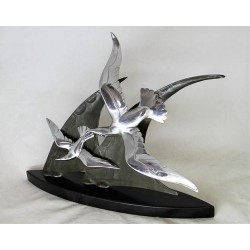 Art Deco sailing ship with seagulls. Bronze and chromed bronze on black marble base. French (c.1925)
