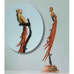 Charles Henri Mollins Bronze Bird of Paradise on Marble Base Figural Sculpture. Signed to base. French (c.1930)