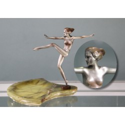 Josef Lorenzl bronze dancer on onyx base. Signed to Bronze Socle (c.1925)