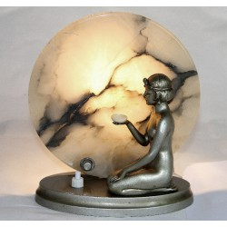 Art Deco Spelter Kneeling Nude Female Figural Lamp. Circa 1925