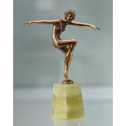 Josef Lorenzl bronze figure on onyx base. Signed to bronze socle (c.1925)