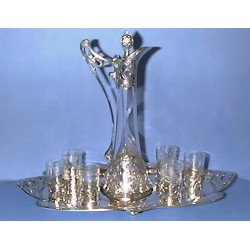Antique WMF decanter, glasses and tray set. Stamped marks (c.1900)