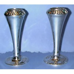 Pair of antique WMF Osiris vases pewter with green glass stones. Marked to base 'Osiris 1022 Isis' (c.1905)