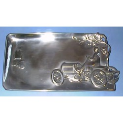 Antique WMF pewter motoring plaque  Width: 24cm, Pewter, Stamped Marks No. 272 (c.1900)