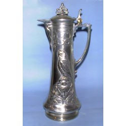 Antique WMF pewter claret jug. Stamped marks (c.1900)