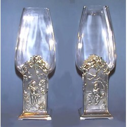 Pair of Antique WMF Four Seasons Vases. Stamped marks (c.1905)