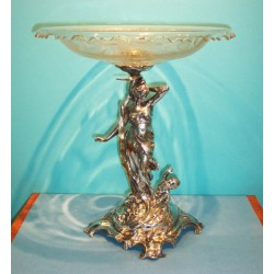Antique WMF fruit bowl with original glass. Stamped marks (c.1900)