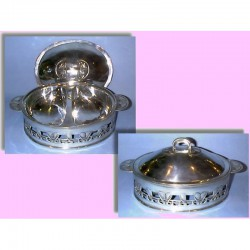 Archibald Knox for Liberty & Co antique pewter serving dish with two wells. Stamped - Tudric (c.1902)
