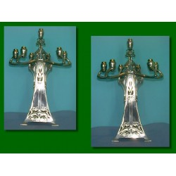 Antique pair of massive WMF fourteen light candelabra. Stamped marks (c.1900)