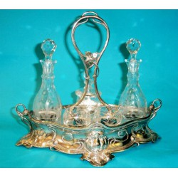 Antique cruet set by WMF with original plating and etched glass. Number 152 and stamped marks (c.1900)