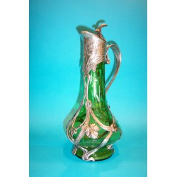 Antique French (unmarked) decanter with green glass liner (c.1900)