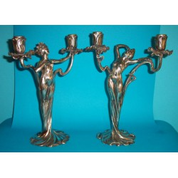 Pair of antique French polished pewter candlesticks (c.1900)