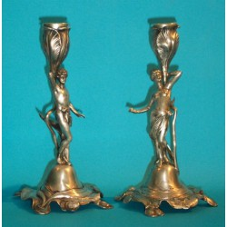 Pair of antique WMF female figural candlesticks with original silver plating, Stamped marks (c.1900)