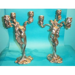 Imperial Zinn female figural pewter candelabra. Signed Boneford. Marked B & G Imperial Zinn (c.1900)