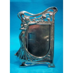 Antique WMF photograph frame with an elegant female figure. Stamped marks (c.1900)