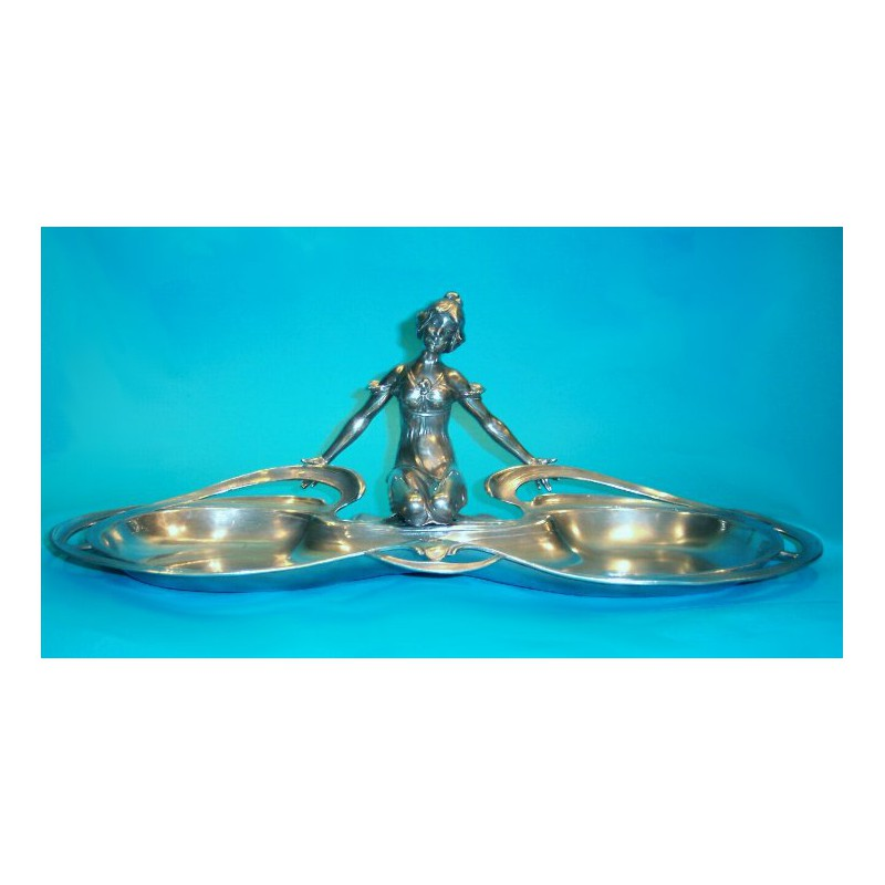Argentor pewter dish with a figure of a kneeling female. Stamped marks (c.1900)
