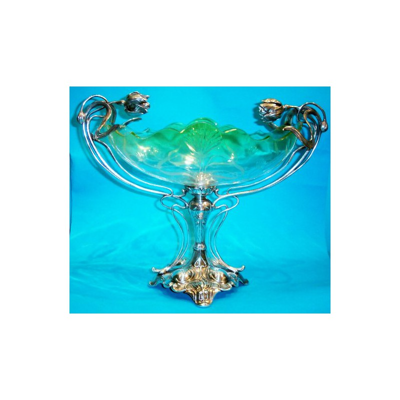 Antique WMF Fruit Bowl with Original Etched Glass Liner & Silver ...