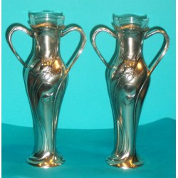 Pair of antique WMF vases with original glass liners. Stamped marks (c.1900)
