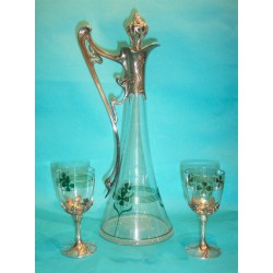 Antique WMF wine decanter with six glasses. Stamped marks (c.1900)