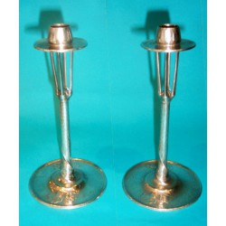 Pair of antique pewter candlesticks by William Hutton. Stamped marks (c.1900)