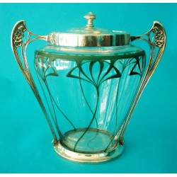 Antique WMF biscuit barrel with original silver plating and glass liner, Stamped marks (c.1905)
