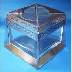Antique Osiris pewter biscuit box with original glass liner. Stamped marks OSIRIS 1114 (c.1905)